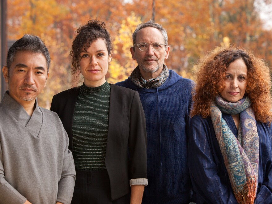 Composer Osvaldo Golijov (second from right) and three of his colleagues on <em>Falling Out of Time</em>: vocalists Wu Tong, Nora Fischer and Biella da Costa.