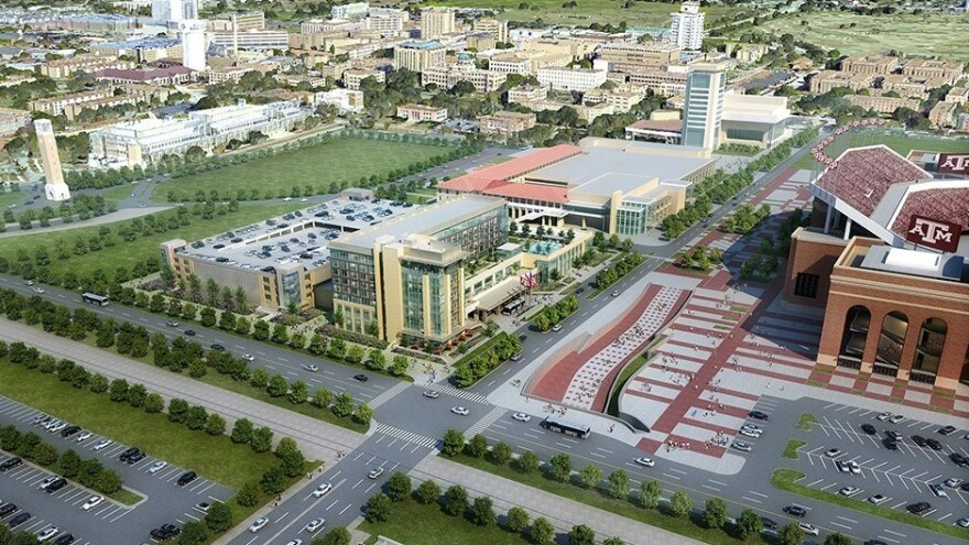 Texas A&M is holding an auction and a lottery to determine who can stay at a new hotel that's being built across from the school's football stadium. Here, the facility is seen in an artist's rendering.