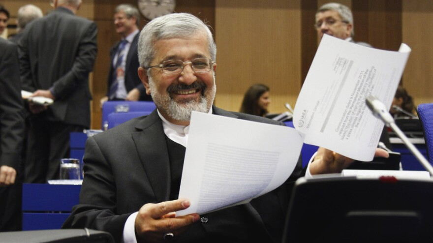 The International Atomic Energy Agency, or IAEA, is sending a team to Iran on Sunday to further look into the country's nuclear program. Here, Ali Asghar Soltanieh, Iran's ambassador to the agency, is shown at an IAEA meeting in Vienna on Nov. 18, 2011.