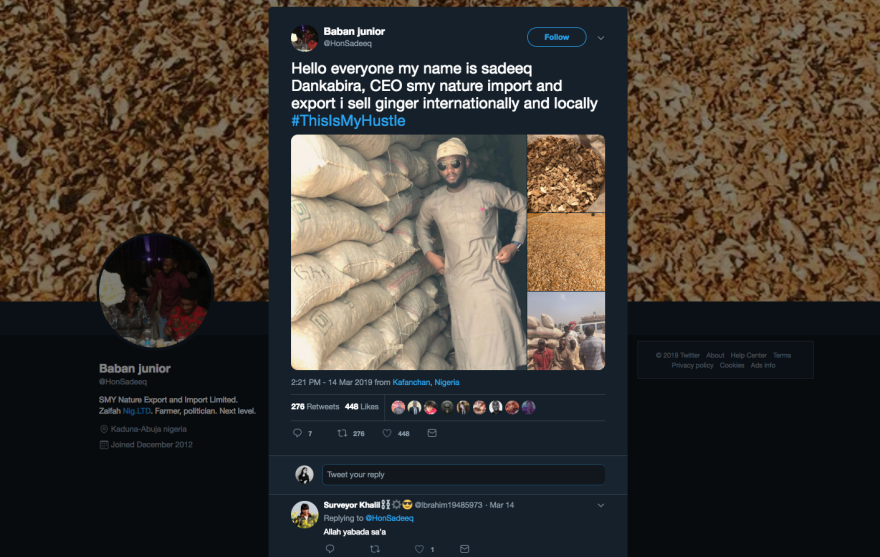 "Sadiq Muhammed Kabir, 24, runs his own import-export business selling ginger root in Kaduna, Nigeria. He shared his ""hustle"" on Twitter."