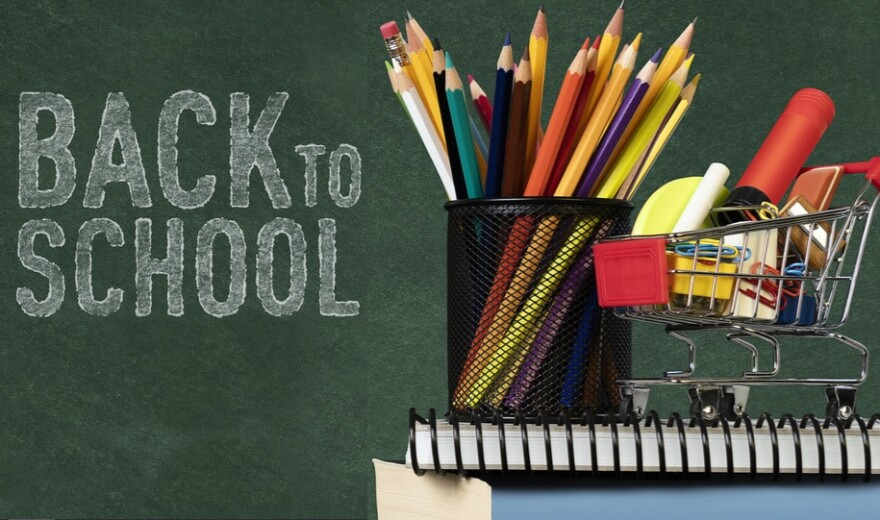 Back to school supplies, like pencils, pens, and notebooks