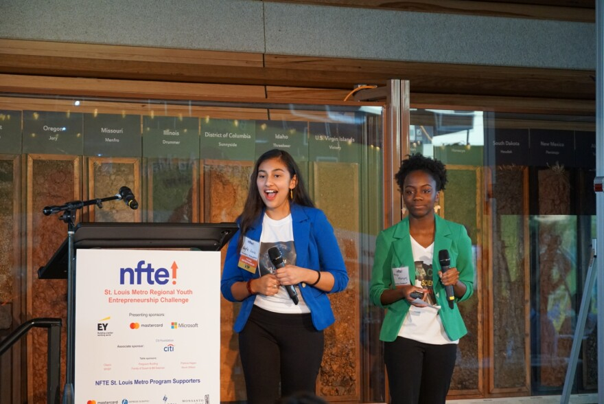 Nayla Nava and Maya McGregory pitch Afrospanic Atmosphere  for the St. Louis Metro Youth Entrepreneurship Challenge. May 5, 2019