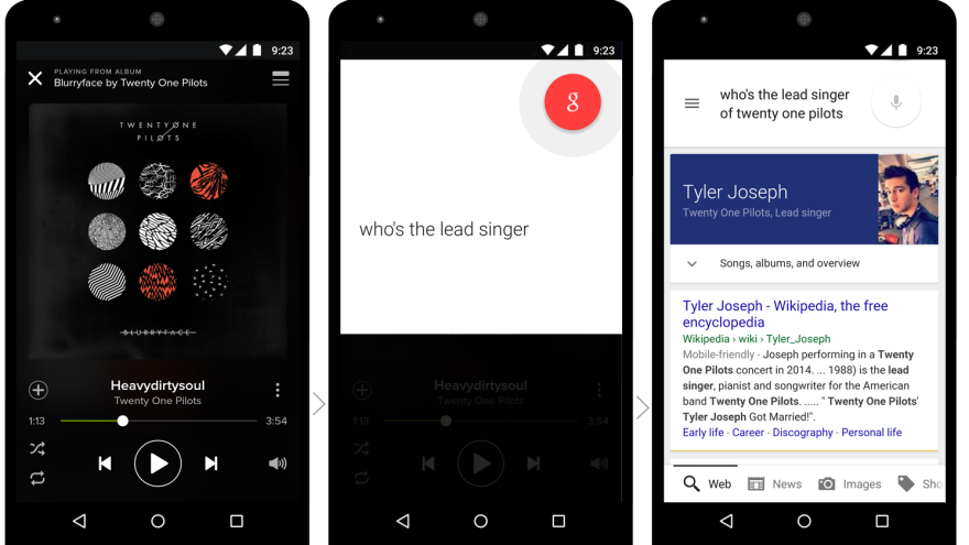 """Google's upcoming """"now on tap"""" feature will let smartphone users ask a question within an app like Spotify."""
