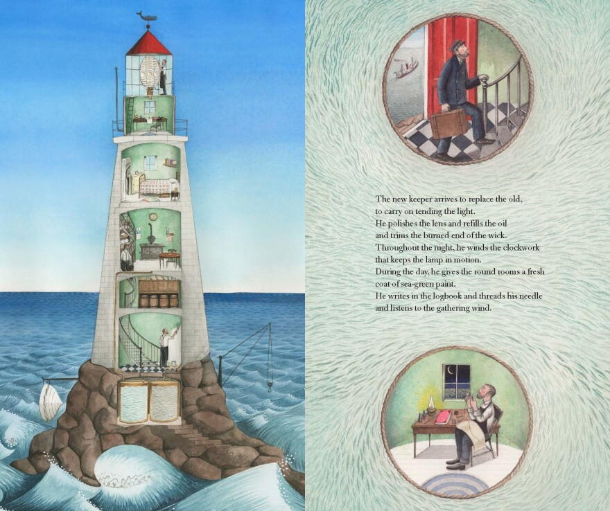 An excerpt of Sophie Blackall's Hello Lighthouse.
