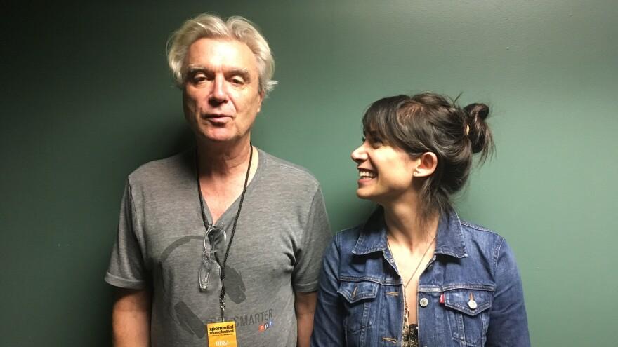 David Byrne (left) with <em>World Cafe</em> host Talia Schlanger backstage at the 2018 XPoNential Music Festival.