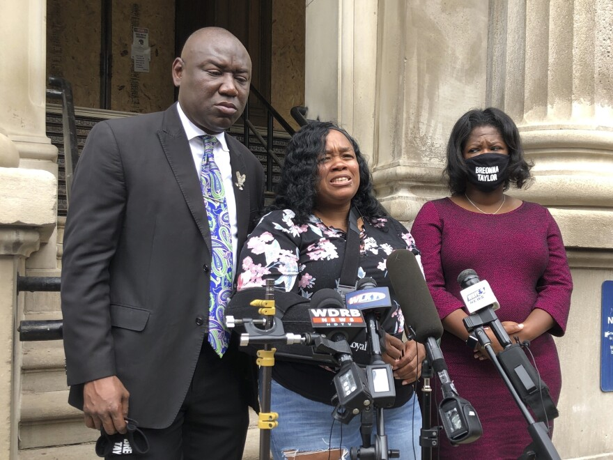 Tamika Palmer, mother of Breonna Taylor, addressed the media in Louisville, Ky., last month. She says she wants the officers involved in the deadly raid to be charged.
