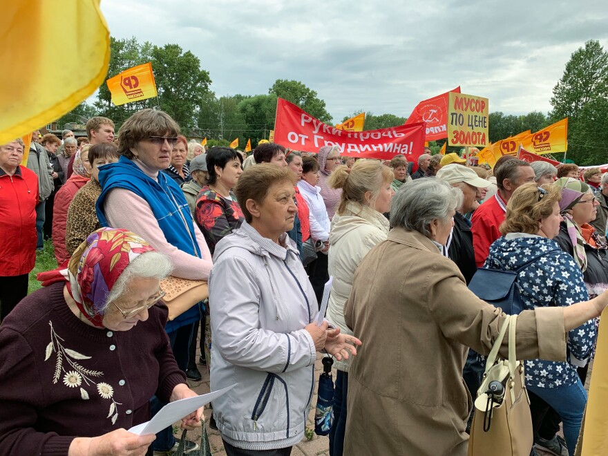 Residents of Pereslavl-Zalessky gathered for a protest against planned garbage dumps in July.