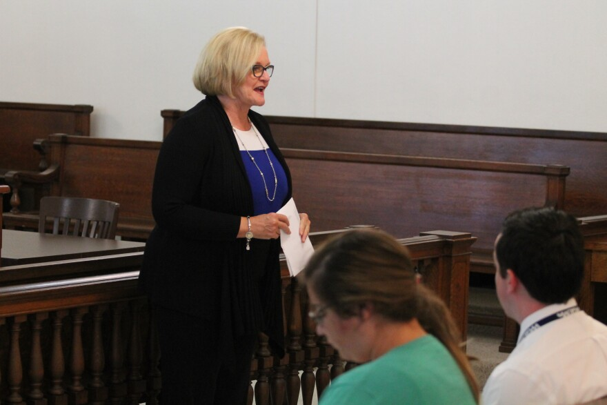 U.S. Sen. Claire McCaskill makes a point during a town hall meeting on August 23, 2017, in Bowling Green.