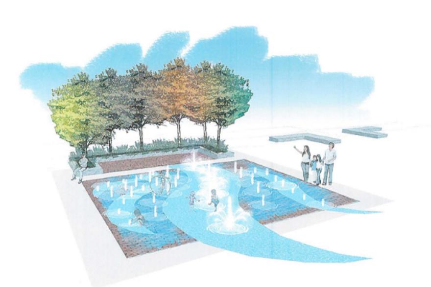 photo of spray fountain and bricks