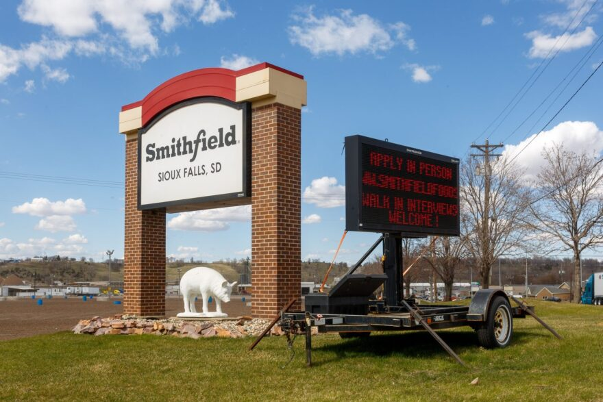 A sign outside the Smithfield Foods pork processing plant in South Dakota, one of the countrys largest known Coronavirus clusters, is seen in Sioux Falls, South Dakota.