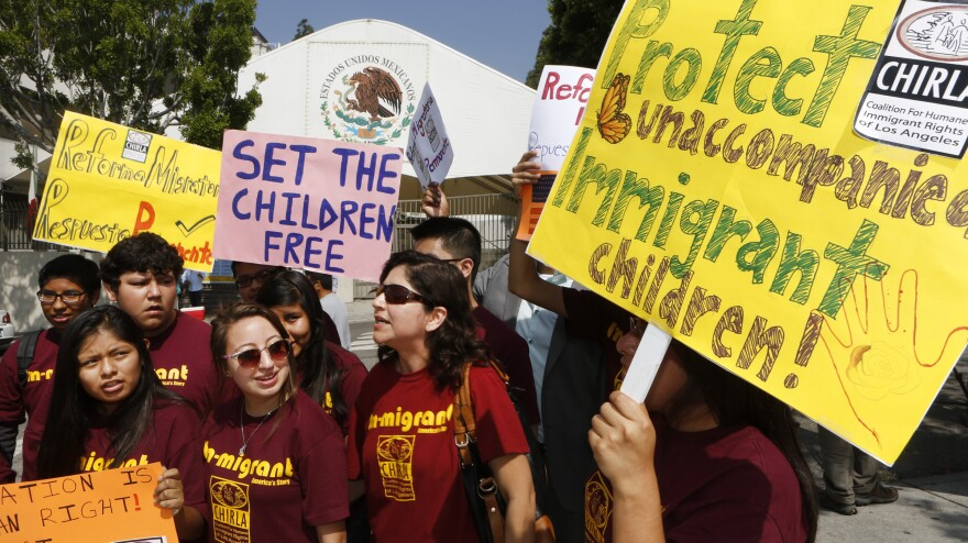 The U.N. is encouraging the U.S., Mexico and other countries to treat migrant children as refugees, on the grounds that they're fleeing danger. Last week, immigration activists demanded that Mexico protect the rights of minors and families crossing its territory, during a protest outside the Mexican Consulate in Los Angeles.