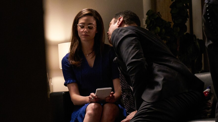"""Emmy Rossum and Harry Lennix in """"The Politician,"""" one of the short films in the series #ThatsHarassment."""