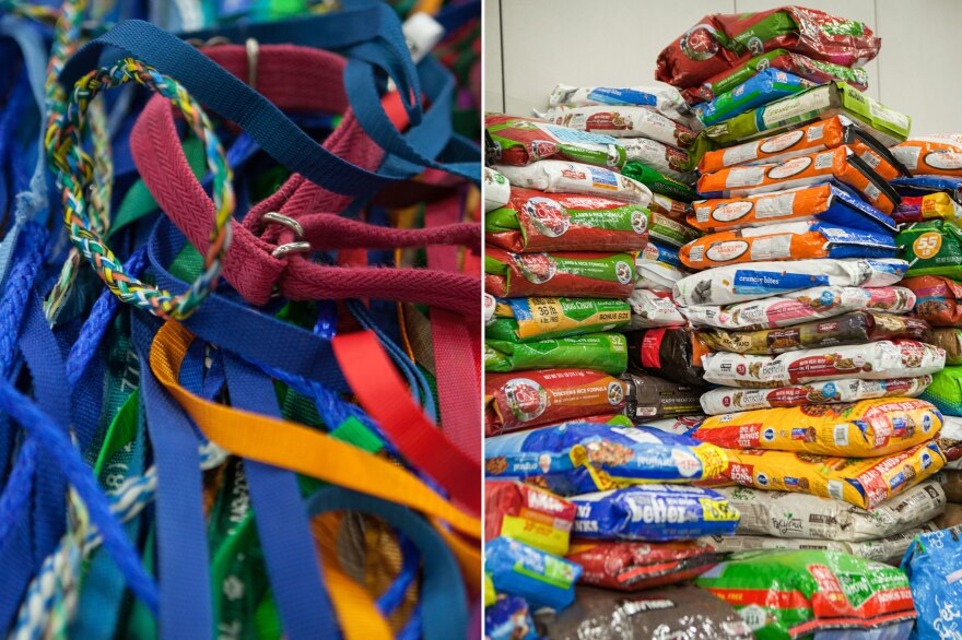 (Left) Donated dog leashes and collars are available. (Right) More than 10,000 pounds of pet food have been distributed to the animals.