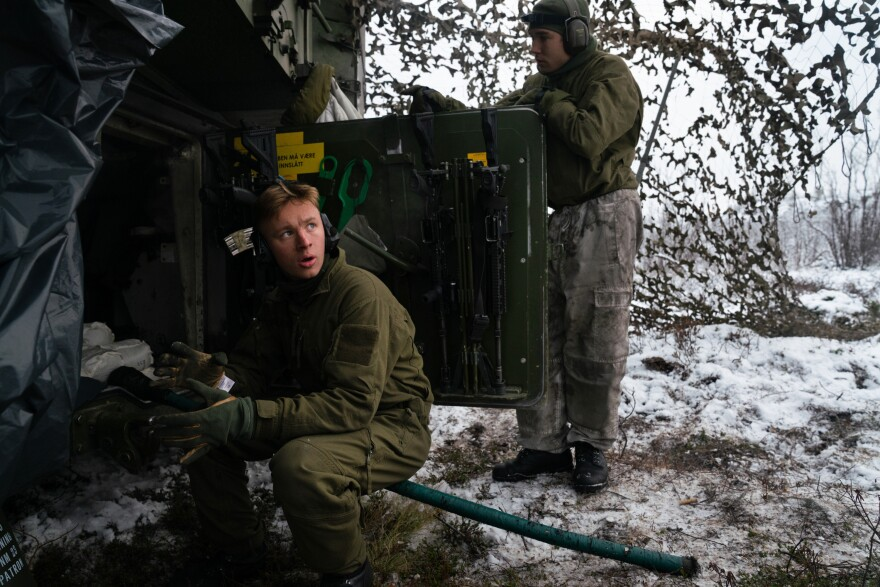 In October, about 1,400 Norwegian troops carried out military exercises at the camp. Part of their training was how to fight under winter conditions.