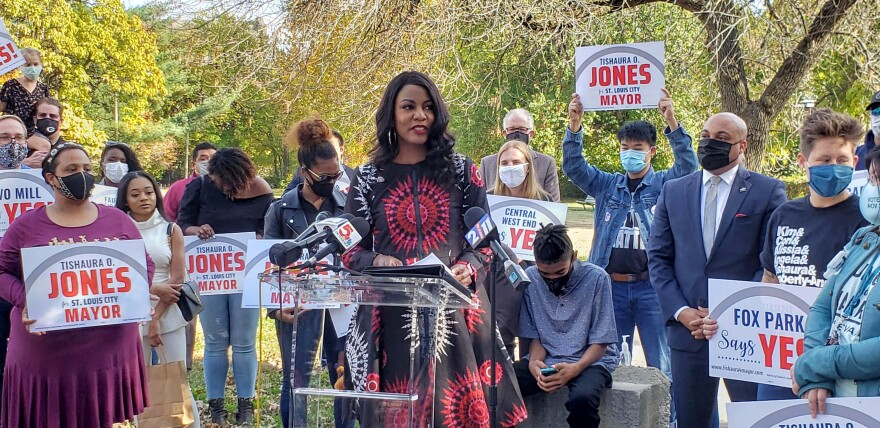 Treasurer Tishaura Jones announces her campaign for mayor on November 4, 2020 at Ivory Perry Park in St. Louis.