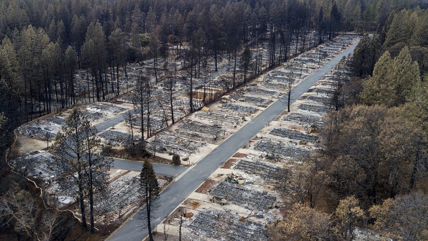 The Camp Fire leveled homes in the Ridgewood Mobile Home Park retirement community late last year in Paradise, Calif. The state's largest utility, PG&E, may face billions in liability costs if its equipment is found to be responsible for igniting the fire.