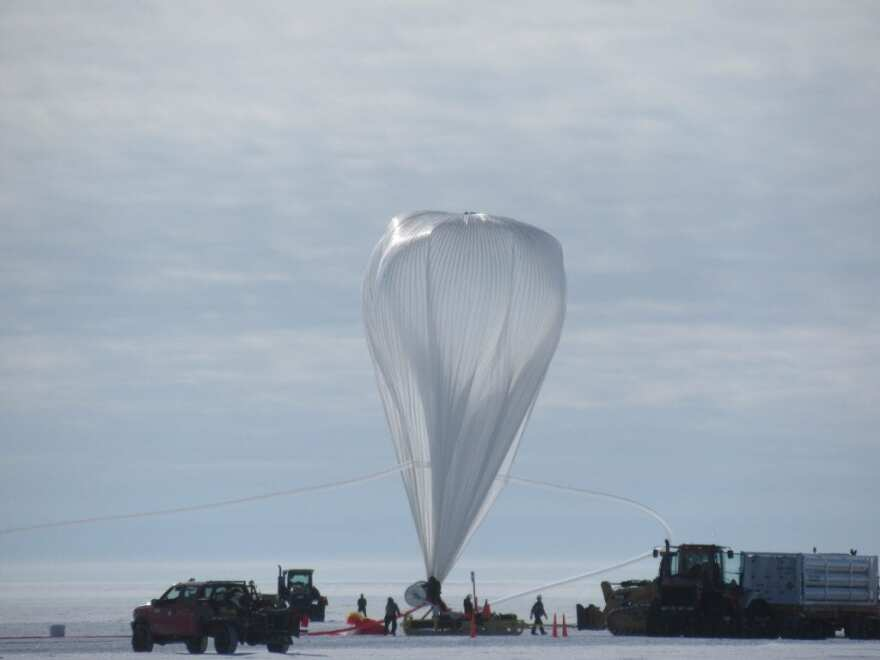 A large balloon used by scientists to carry an x-ray telescope into the Earth's stratosphere in December 2018.