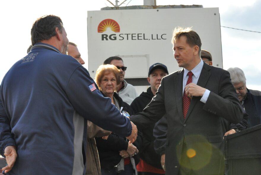 Democratic gubernatorial candidate Richard Cordray, seen here on the campaign trail with union members at the site of a closed steel plant in Warren, Ohio, on Oct. 23, 2018.