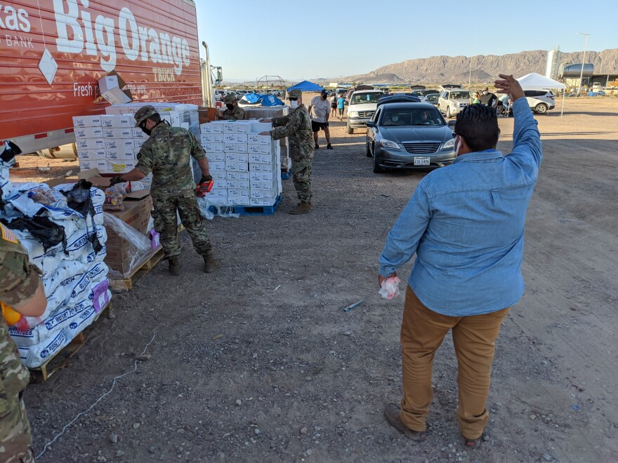 """National Guard and West Texas Food Bank Staff drove 250 miles to Presidio to distribute food. Without the Guard, food bank says it's """"Back to the drawing board"""" on volunteer shortages."""
