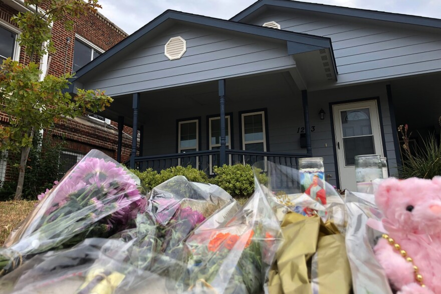 Members of the community have brought tributes to the home where Atatiana Jefferson was killed early Saturday by an officer who was responding to a neighbor's report of an open door.