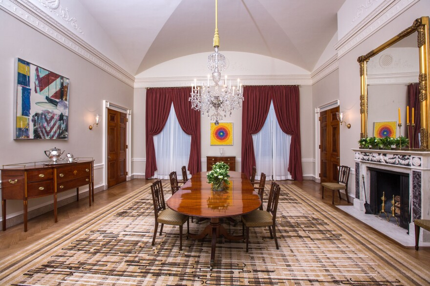 Alma Thomas' artwork <em>Resurrection</em> adorns the far wall of the Old Family Dining Room of the White House.