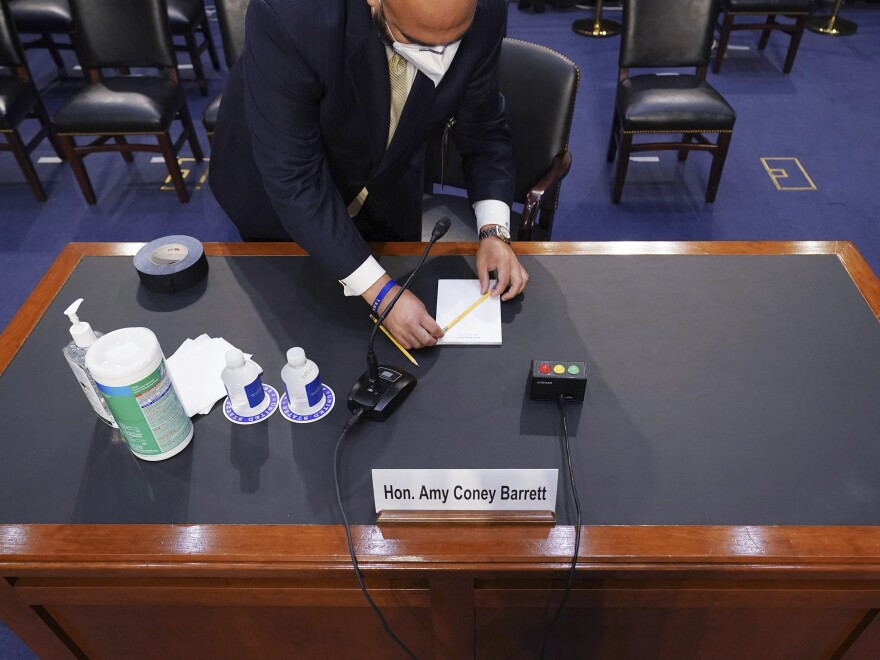 The desk for Supreme Court nominee Amy Coney Barrett is set up before she appears before the Senate Judiciary Committee.