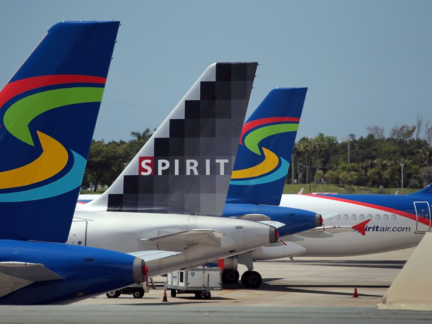 Spirit Airlines planes sit on the tarmac at the Fort Lauderdale International Airport in Florida.