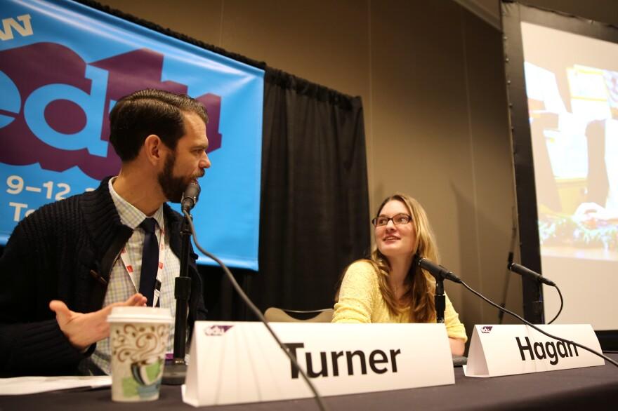 NPR Ed's Cory Turner chats with teacher Sarah Hagan at SXSWedu in Austin, Texas.