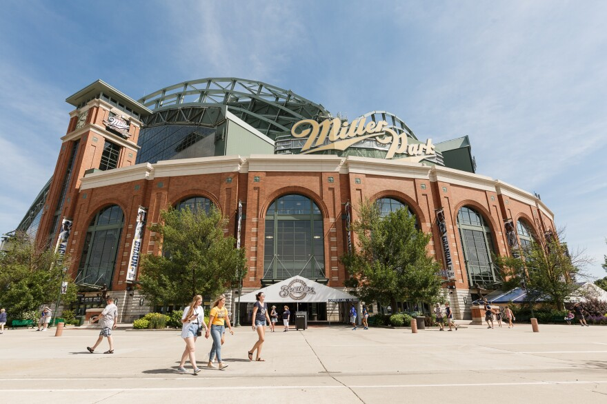Fans begin to leave the Milwaukee Brewers game at Miller Park. Selig led the effort to build Milwaukee's new stadium, which opened in 2001.
