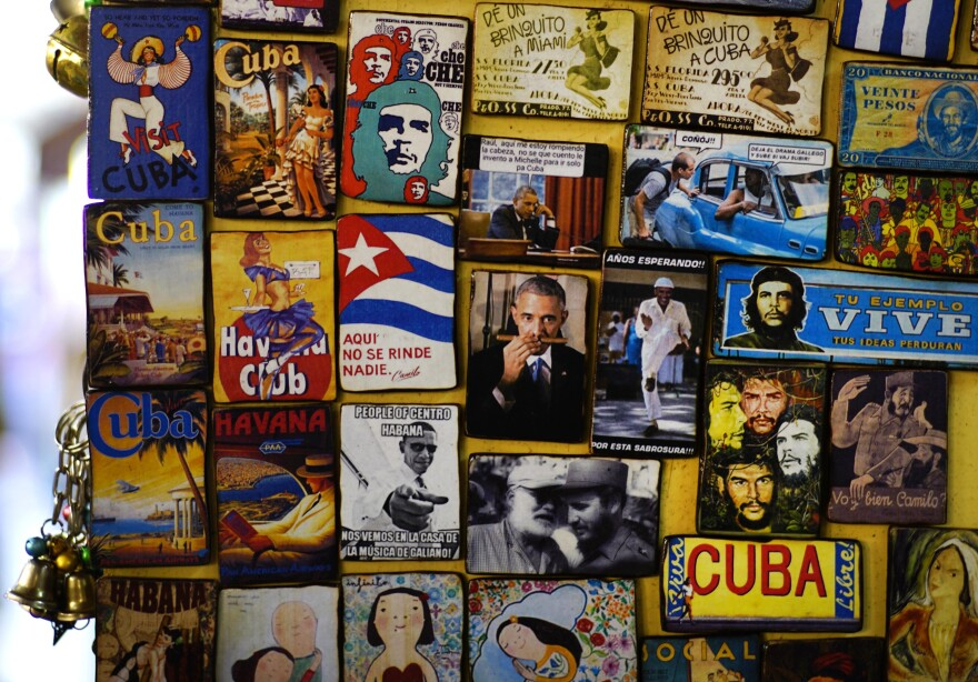Refrigerator magnets, including images of President Obama, are displayed for sale in a tourist shop at a market in Havana on Monday.