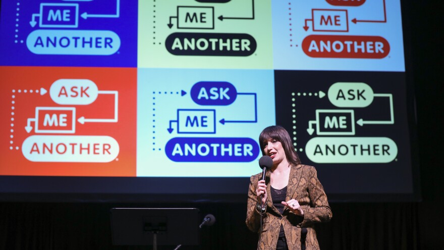 Ophira Eisenberg performs stand-up on <em>Ask Me Another</em> at TPAC's Polk Theater in Nashville, Tennessee.