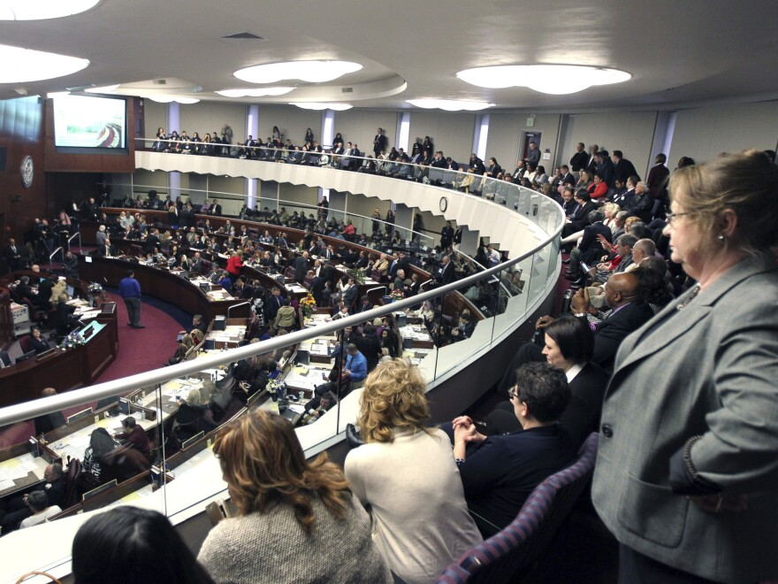 Spectators look down on the Nevada Assembly on the opening day of the legislative session in Carson City, Nev., in February. On Wednesday, state senators backed the Assembly and voted to adopt the Equal Rights Amendment.