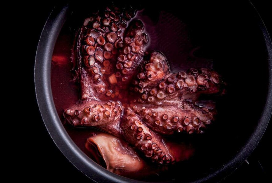 """Boiled octopus, a recipe for """"reliably tender, flavorful octopus that can be used as it is, or as a basis for fried or grilled octopus dishes,"""" write Richard Horsey and Tim Wharton in <em>Ugly Food</em>. """"Octopus is also totally sustainable, very economical and incredibly versatile — the various methods of preparation and cooking lend it subtly different flavors,"""" says Wharton."""