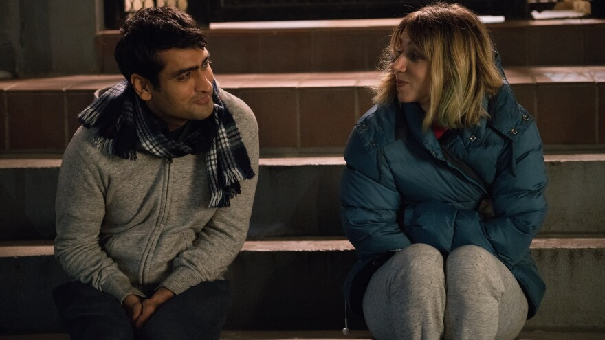 Kumail (Kumail Nanjiani) and Emily (Zoe Kazan) in <em>The Big Sick.</em>
