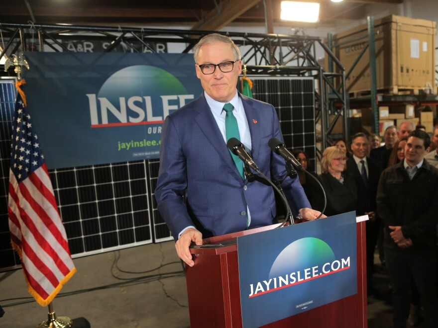 Washington Gov. Jay Inslee announced his presidential bid at A&R Solar on March 1 in Seattle. Inslee has made fighting global warming his top policy issue, and he released a major policy proposal on the issue on Friday.