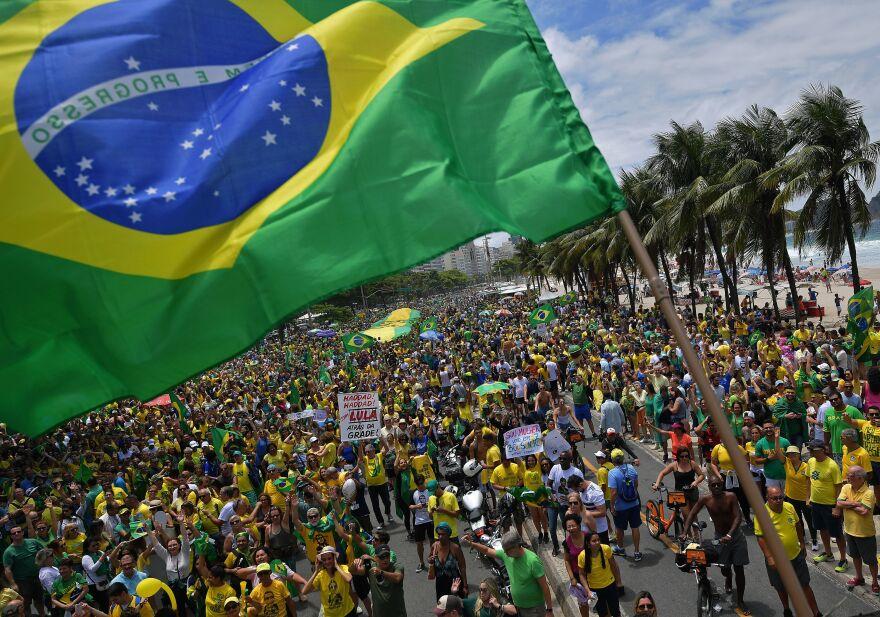 Supporters of Brazilian far-right presidential candidate Jair Bolsonaro attend a rally at Copacabana beach in Rio de Janeiro last week.