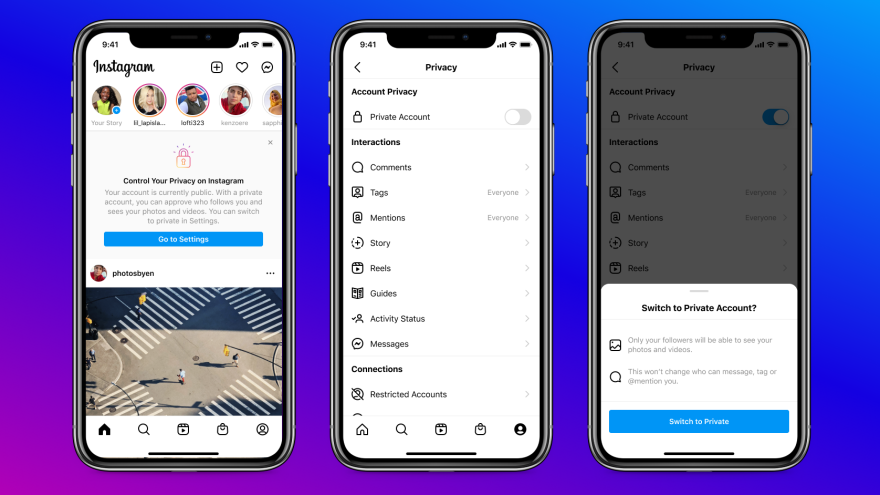 Instagram will start showing teens who already have public accounts notifications about the benefits of private accounts and how to switch.