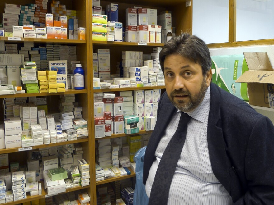 Nikitas Kanakis, director of the Greek branch of Doctors of the World, says people are desperate for food and medicine. He says that the medicines at the clinic his group runs in Perama are all donated.