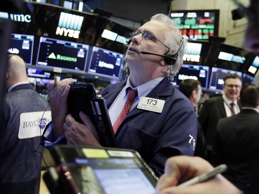 Trader Fran O'Connell works on the floor of the New York Stock Exchange. The Dow Jones industrial average rebounded sharply on Monday following a report of U.S.-China trade talks.