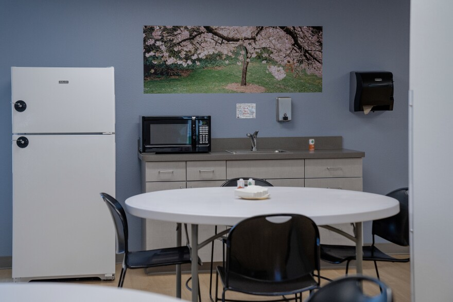 A kitchen with positive and calming imagery at American Behavioral Health Systems.