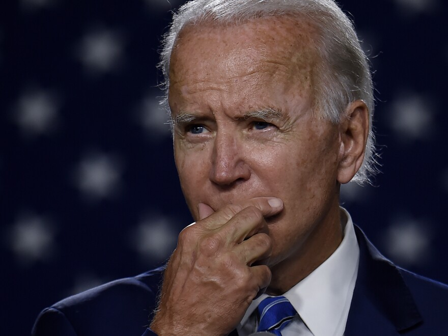 "Then presidential candidate Joe Biden speaks at a ""Build Back Better"" Clean Energy event on July 14, 2020. On Thursday, Biden unveiled an ambitious economic plan just days before he's set to be inaugurated as president."