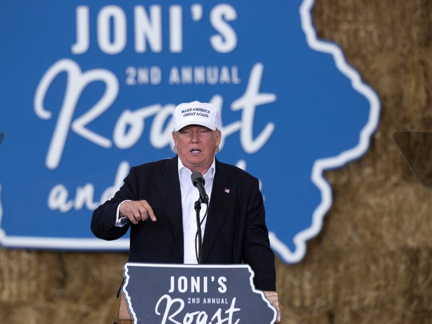 Donald Trump speaks at Sen. Joni Ernst's Roast and Ride Fundraiser on the Iowa State Fairgrounds in Des Moines.