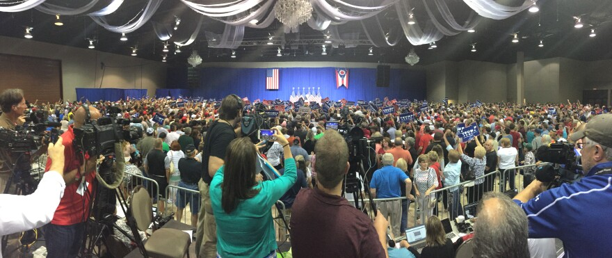 Thousand gather at the Roberts Center in Wilmington to hear candidate Trump speak.