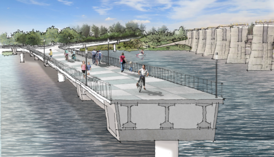 An artist's rendering of a cross-section of the proposed bridge over Lady Bird Lake.