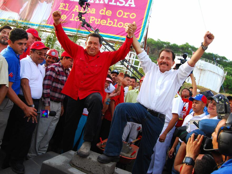 Chavez celebrates a new oil refinery with Nicaraguan President Daniel Ortega in 2007. Nicaragua repays Venezuela for its oil with sugar, coffee and other goods.