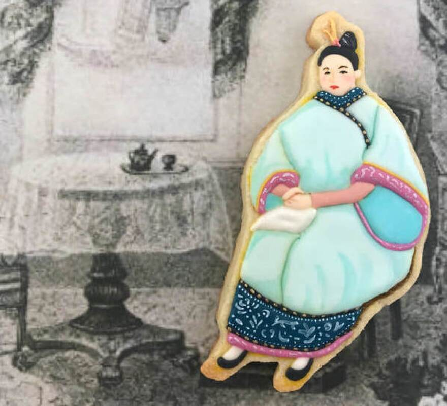 Jasmine Cho's cookie portrait of Afong Moy, who is often cited as the first Chinese woman to step foot in the United States. Beginning in the 1830s, Moy was put on display before crowds as a curiosity.