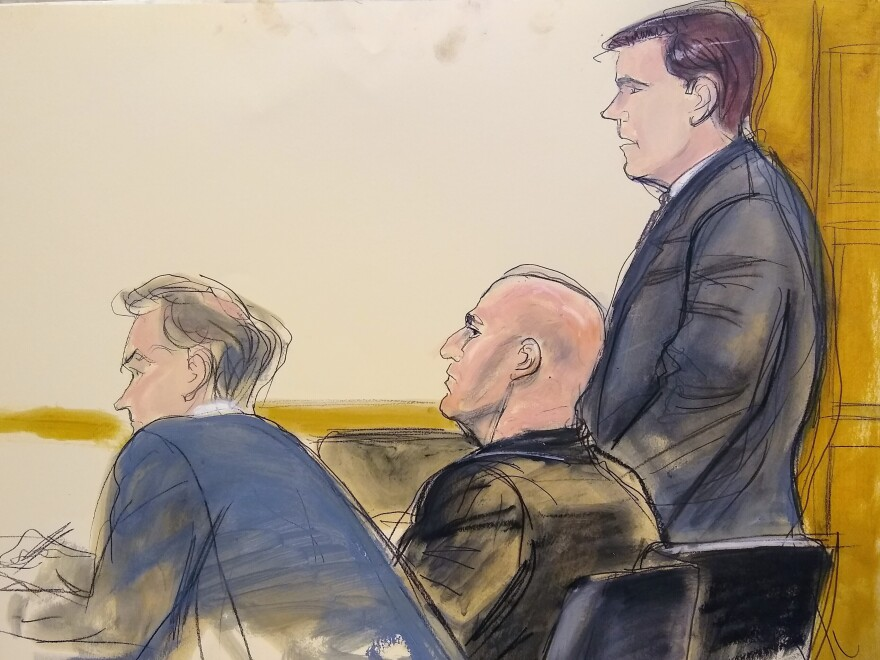 In this courtroom artist's sketch, defense attorney William Harrington (from left), defendant David Correia and defense attorney Jeff Marcus appear in U.S. District Court for the Southern District of New York on Wednesday.