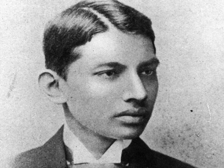 Indian thinker, statesman and nationalist leader Mahatma Gandhi  as a law student.