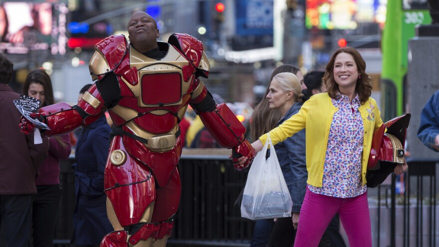 Ellie Kemper, right, stars alongside Tituss Burgess in Netflix's <em>Unbreakable Kimmy Schmidt</em>, which follows a former doomsday cult member as she adjusts to life in New York.