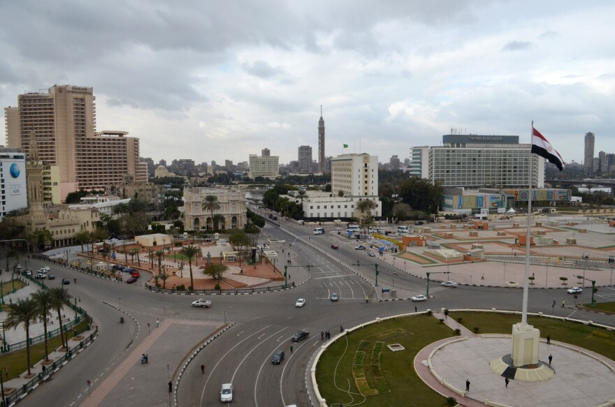Cairo's central Tahrir Square, once epicenter of Egypt's protest movements, stands mostly empty of pedestrians and traffic on the fifth anniversary of the country's 2011 Arab Spring uprising, in Cairo, Egypt, on Monday.